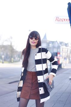 SILVER SURFER - A DASH OF FASH - zerouv sunglasses, striped vila coat, vila ribbed knit grey sweater, glamorous suede button through skirt, tweed handbag, leopard guess watch, silver sneakers