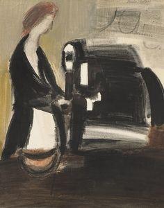 Ludvig Eikaas (1920-2010), Kassadame,   Akvarell på papir, 60x47
