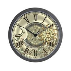 TimeZone Clocks & Boxes: Celestial Sun and Moon Wall Clock: A pretty celestial design featuring the sun, moon and stars and decorated with flowing vines. Great gifts for lovers of astrology, symbols or the heavens.