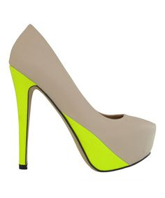 Loving this Nude & Neon Yellow Miranda Pump on #zulily! #zulilyfinds  This would look good on my friend Crystal!