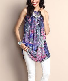 Purple Floral Notch Neck Pin Tuck Sleeveless Tunic by Reborn Collection #zulily #zulilyfinds