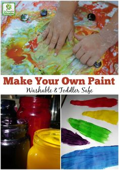 Save Money And Paint Stained Clothes By Making Your Own Washable And Edible Homemade Paint For Baby And Toddler. Pursue This Easy Recipe and Start Painting Perfect For Early Years Educators, Teachers, Homeschool Families And Parents To Try Baby Painting, Painting For Kids, Preschool Art, Preschool Activities, Preschool Painting, Projects For Kids, Crafts For Kids, Art Crafts, Homemade Paint