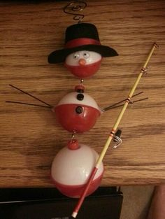 Snowman ornament made from fishing bobbers