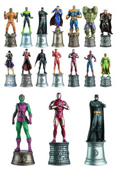 DC Comics vs Marvel Comics Chess Pieces  DC Comics versus Marvel Comics, the age-old rivalry has come to this: chess pieces featuring the most popular comic book characters from both camps. There are over 100 pieces to choose from to create your own custom set. the 5-inch tall figures are made of metalized resin and painted by expert model makers.