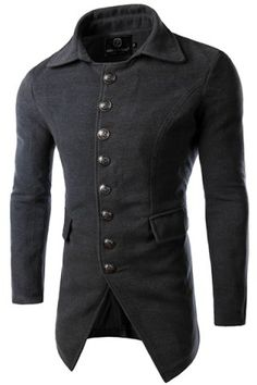 Multi-Button Flap Pocket Solid Color Turn-down Collar Long Sleeves Men's Woolen Blend Coat