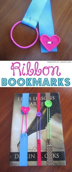 Sewing?!?! DIY Ribbon Bookmarks (ribbon, hairbands, and buttons!) -- 29 creative crafts for kids that adults will actually enjoy doing, too!