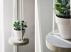 Putting the final touches on my living room with this sweet little hanging plant table. I was inspired by this gorgeous Floating Wooden Table made by Monsters Circus.  I know the cement craze has been going around for quite a while now but I never got around to trying it before and… well… I'm in love. …
