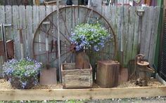 water and rock garden with old water pumps | photo left new uses for old things pam added old