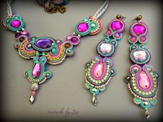 El Rinconcito de Zivi: Conjunto de bisuteria de soutache, complementos de flamenca- set soutache jewelry