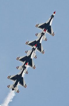 F-16 fighters of the Thunderbirds, the U.S. Air Force Air Demonstration Squadron performing during 'Constanta Air Show 2011' at Mihail Kogalniceanu airfield, near Constanta, Romania, Wednesday, June 8, 2011.
