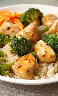 Chicken Sesame Stir Fry – ...In skillet or wok, heat oils over medium high heat. Sauté chicken until cooked through; remove to bowl. In drippings, sauté pepper flakes, garlic, ginger and green onions for 2 minutes. Add broth and soy sauce and bring to a boil. Add broccoli and stir fry until crisp-tender. Remove broccoli... Click the image to view the full recipe. #75minmeal