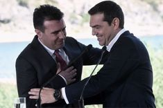 Greek Prime Minister Alexis Tsipras (right) and Macedonian Prime Minister Zoran Zaev on 17 June 2018 - Macedonia name dispute https://www.bbc.com/news/world-europe-44511649