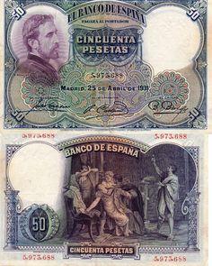 Billetes antiguos de España- 50 pesetas de 1931, anverso y reverso