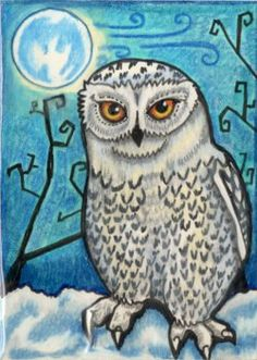 'Another Whimsical Owl' by LemurKat Painted Owls, Cartoon Owls, Owl Moon, Whimsical Owl, Owl Paintings, Paper Owls, Owl Pictures, Beautiful Owl, Creatures Of The Night