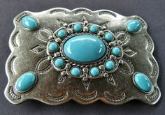 SQUARE FLOWER FLORAL BLUE STONES WESTERN RODEO BELT BUCKLE BELTS BUCKLES