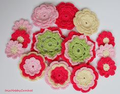 14 beautiful crochet flowers appliques, great embellishments for your scrapbooking and sewing projects.  Made from a lovely 100% cotton crochet thread in Ivory, pink, hot pnk and pale green This collection includes:  6 three-layer flowers approx. 5 cm (2); 2 big three- layer flowers approx. 6 cm (little less than 21/2); 6 daisies 3,5 cm (1 1/4).  Need them in different colours? See my others listing here https://www.etsy.com/it/shop/IaiaHobbyCrochet?section...