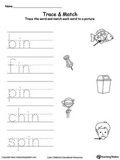IN Word Family Trace and Match: Practice writing short words and identify their sound by matching the word with the picture. This activity will improve your child writing skills and increase their vocabulary words. Short Vowel Activities, Bible Activities For Kids, Alphabet Tracing Worksheets, Kindergarten Worksheets, Cvc Worksheets, Family Worksheet, English Phonics, Phonics Sounds, Writing Practice