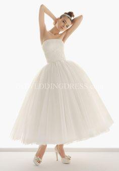 Princess Strapless Tea Length Wedding Dress 125 - Nazaret