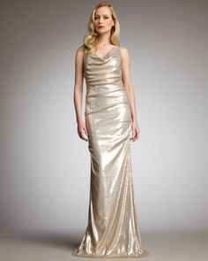 e1e9de43a8 Cowl-Neck Sequin Gown by Nicole Miller at Neiman Marcus. Mob Dresses