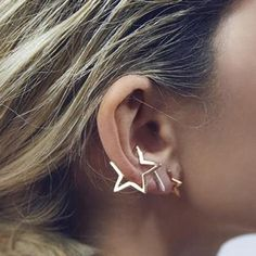 1PC Steampunk Geometric Star Clip Earrings For Women Silver Gold Plated Simple Design Ear Cuff Jewelry Fashion Brincos New XE131