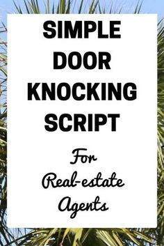 Effective Real-Estate Door Knocking Script