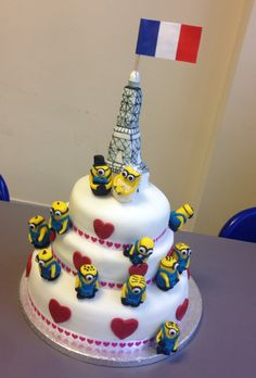 Minion Wedding Cake. Made this with two colleagues for the business valentine bake off. We WON!!! :)