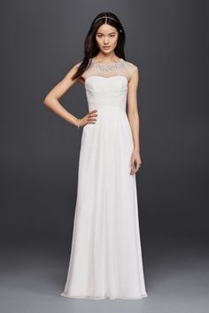 This art deco-inspired sheath wedding dress marries an elegant beaded illusion neckline with a pretty pleated bodice for a glamourous effect.  DB Studio, exclusively at David's Bridal  Polyester  Back zipper; fully lined  Dry clean  Imported  Also available in plus size