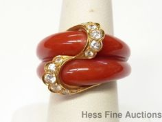 Unsigned Cartier 18k Gold Ultra Fine Diamond Red Coral Inlay Statement Ring Sz 6 #FashionRightHandStatement