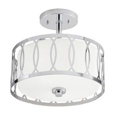 Kichler Lighting 12.24-in W Chrome Frosted Glass Semi-Flush Mount Light