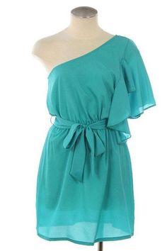 One Shoulder Aqua Dress Beautiful Summer Dresses, Pretty Dresses, Awesome Dresses, Dress With Bow, Dress Me Up, Classy Gowns, Turquoise Dress, Grad Dresses, Dream Dress
