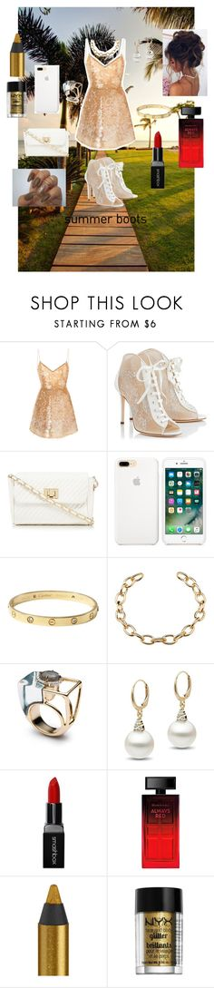 """Beautiful in Summer Gold! ☀️✨"" by caitylovesfashion99 ❤ liked on Polyvore featuring Monique Lhuillier, Jimmy Choo, Red Herring, Cartier, Smashbox, Elizabeth Arden, Urban Decay and NYX"