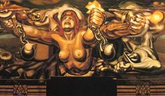 View of a mural depicting Democracy breaking her chains, 1934 David Alfaro Siqueiros - by style - Muralism