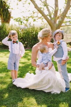 blue and white ring bearer outfits