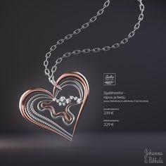 Fictional advertisement of a heart shaped pendant. Made with Blender 3D. © Johanna Pakkala. – 3D modeling