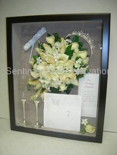Wedding Shadowbox - use cake cutting set, glasses, veil, flowers, scrapbook paper, heart cookie cutter, extra stuff from reception
