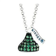 Designed in Sterling silver with green Cubic Zirconium , this Small Flat Back Hershey's Kiss May Pendant includes an 16 inches with 2 inch extension Rolo chain with Lobster claw.