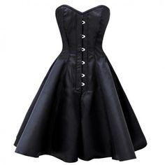 Burlesque Steel Boned Satin Black Corset Dress