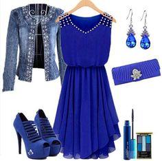 Gorgeous Color! Love this Outfit! Sapphire blue plain diamond wrap chiffon mini dress.