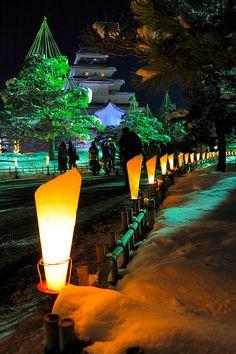 Candle Festival at Tsuruga Castle, Fukushima, Japan 鶴ヶ城 Beautiful World, Beautiful Places, Beautiful Pictures, Places Around The World, Around The Worlds, Places To Travel, Places To Visit, Walt Disney, Japanese Castle