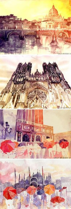 Art Architectural Painting, Artist Study Resources for Art Students, CAPI ::: Create Art Portfolio Ideas at , Inspiration for Art School Portfolio Work, How to Paint Buildings and Architecture Art Et Architecture, Watercolor Architecture, Art And Illustration, Illustrations, Kunst Portfolio, Portfolio Ideas, Art Watercolor, A Level Art, Art Design