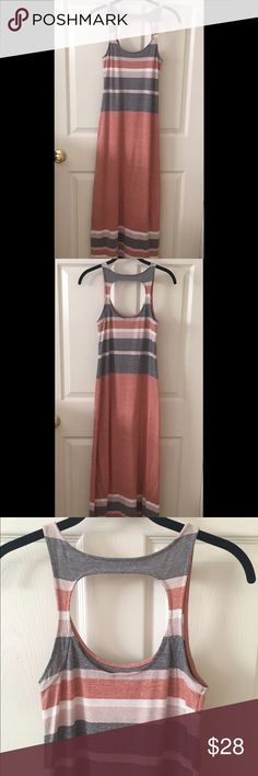 """Summer Maxi Dress Size XS Free People Intimately Gray, orange, ivory and beige sleeveless maxi dress size xs. Reaches to about ankles on me ( i'm 5' 6""""). Cutout back, made out of cotton, polyester and rayon, very comfy in great used condition with no flaws. Free People Dresses Maxi"""