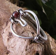 Sterling Silver With Garnet Accent Heart Ring Intricate Wire Wrapped Gemstone Jewelry by GravelRoadJewelry