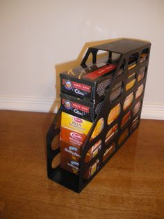 Use a Magazine File To Store Spaghetti : lay it horizontally to hold boxes of spaghetti. Will help keep the pantry organized.