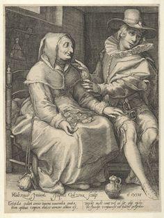 An Old Woman Offering Money to a Young Man, Jacob Goltzius (II), c. 1600 | Museum Boijmans Van Beuningen
