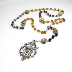 Rosary for the Holy Souls in Purgatory - Holy souls rosary - Purgatory Rosary - Gemstone Rosary in amethyst beads - Catholic prayer beads