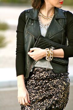 #leather #fauxleather #jacket #sequins #sequin skirt #chains #bracelets #clutch