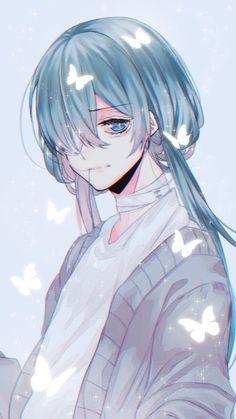 blue hair blue eyes