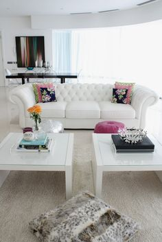 The couch is absolutely divine (but not very practical with the colour) and I'm loving twin coffee tables especially in the white with lass detail. ~Sarah   Love it - wonder how many minutes it would take my little ones to destroy?