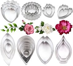 Stainless Steel Gum Paste Flower and Leaf Cutter Set Fondant Flower Cookie Cutter Sugarcraft Flower Making Tool for Wedding,Birthday Cake Decorating Birthday Cake Decorating, Cake Decorating Tools, Cake Decorating Techniques, Decorating Kitchen, Frosting Flowers, Fondant Flowers, Clay Flowers, Fondant Flower Tutorial, Sugar Paste Flowers