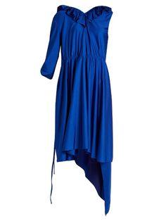Woman Asymmetric Ruffled Stretch-Satin Dress Royal Blue